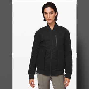 Lulu lemon black ladies wool bomber jacket